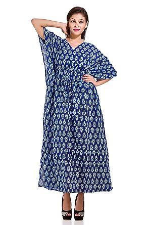 41b45cf4b6312 Indian Cotton Indigo Blue Batik Paisley Floral Boho Long Caftan ...
