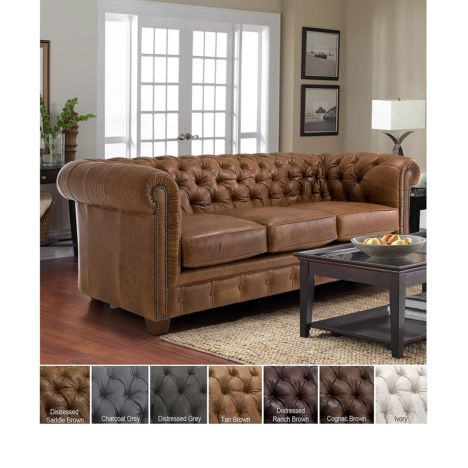 Marvelous Sofaweb Com Hancock Tufted Top Grain Italian Leather Chesterfield Sofa Distressed Saddle Brown Pabps2019 Chair Design Images Pabps2019Com