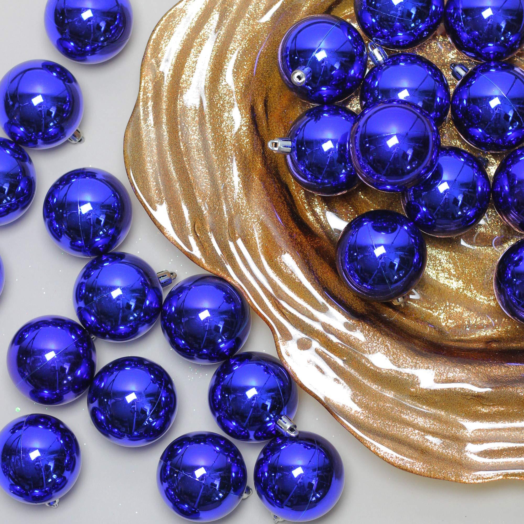 Northlight 60ct Royal Blue Shatterproof Shiny Christmas Ball Ornaments 2.5'' (60mm)