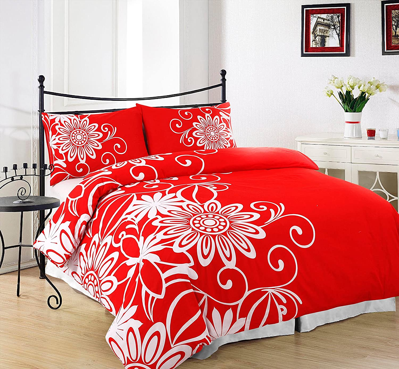 PillowCases Helen Red Design King Size AdamLinens Luxury Duvet Quilt Cover