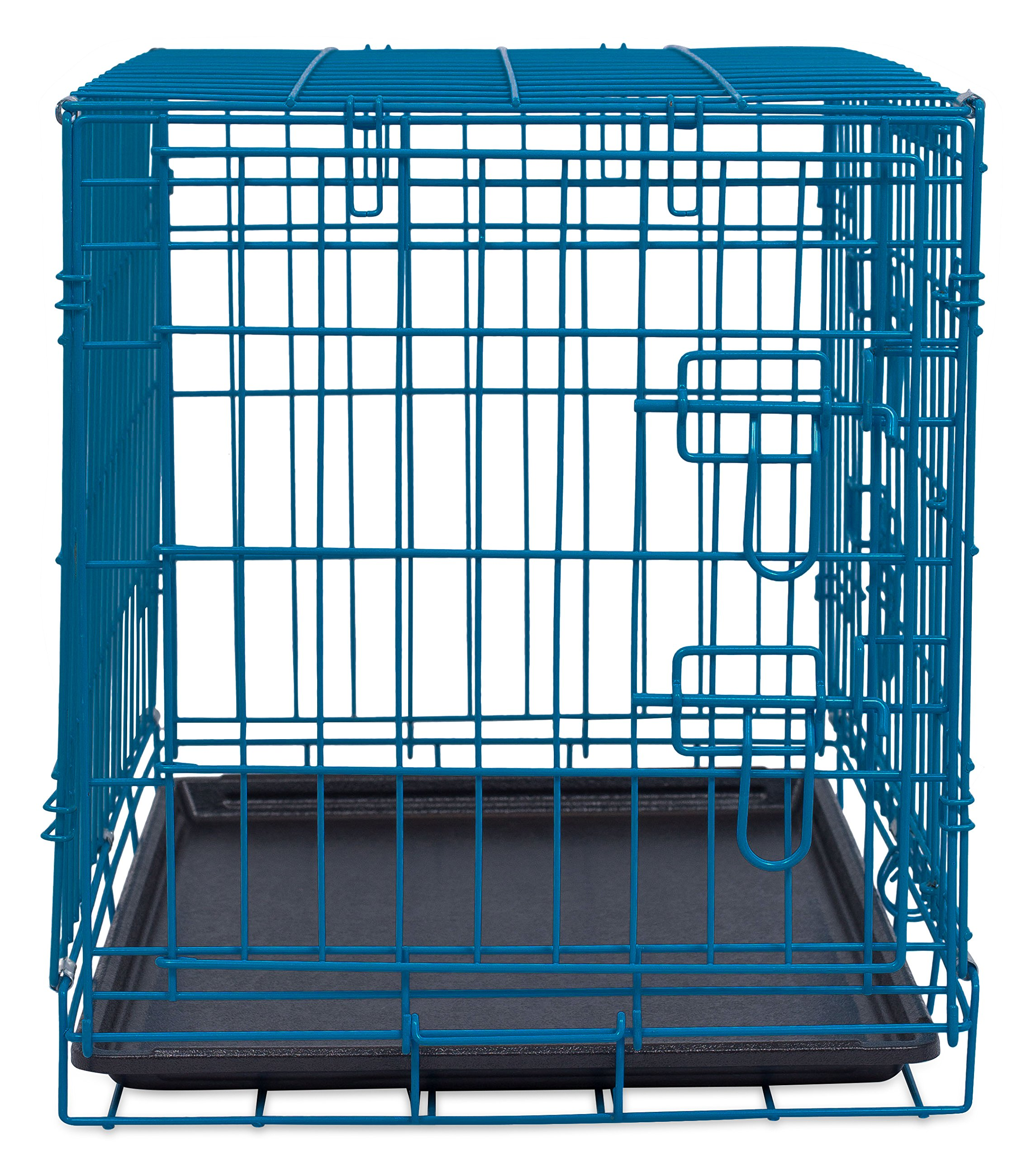Internet's Best Double Door Steel Crates Collapsible and Foldable Wire Dog Kennel, 24 Inch (Small), Blue by Internet's Best (Image #7)