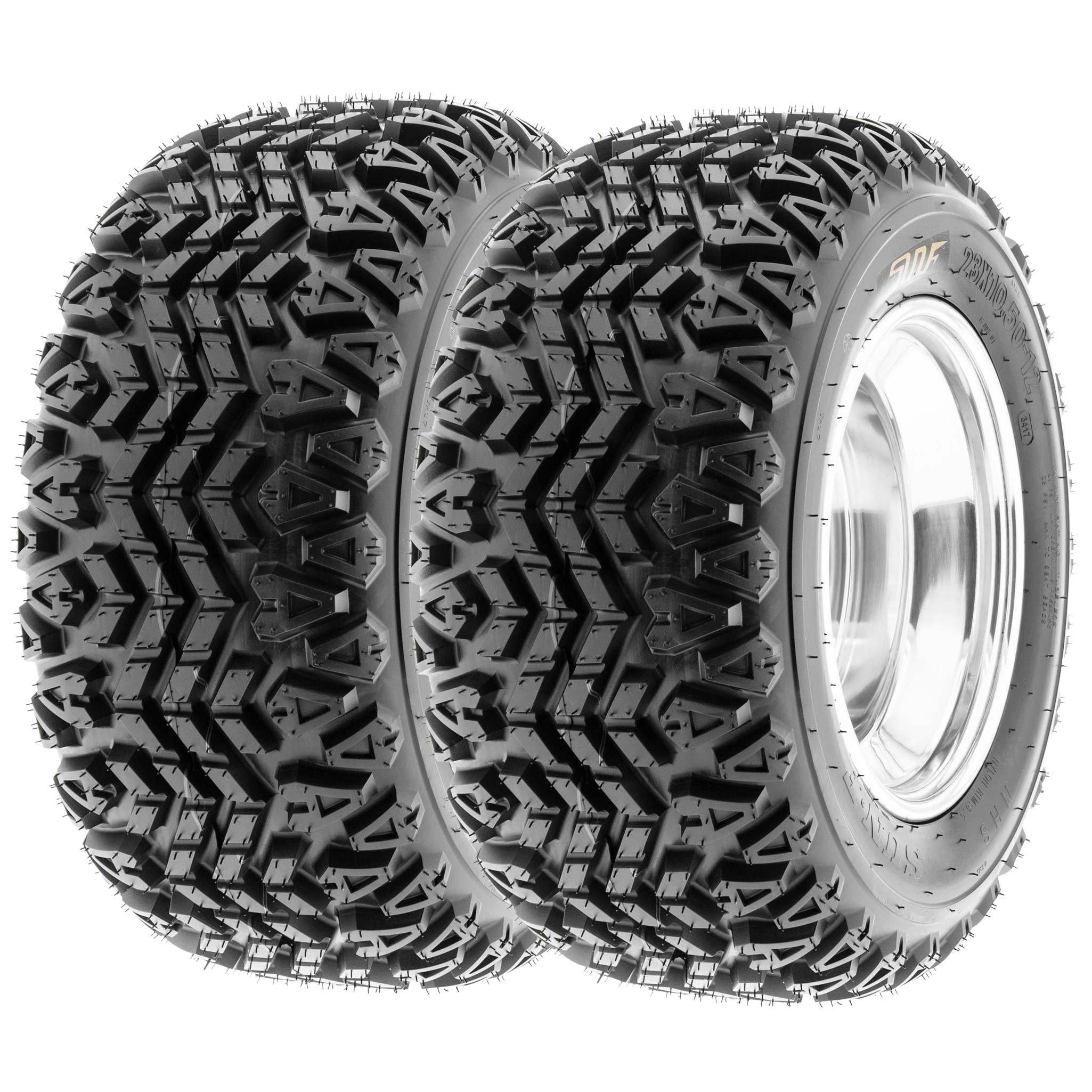 SunF 21x7-10 21x7x10 ATV UTV A/T Golf Cart Tires Race Replacement 4 PR Tubeless Tires G003, [Set of 2]