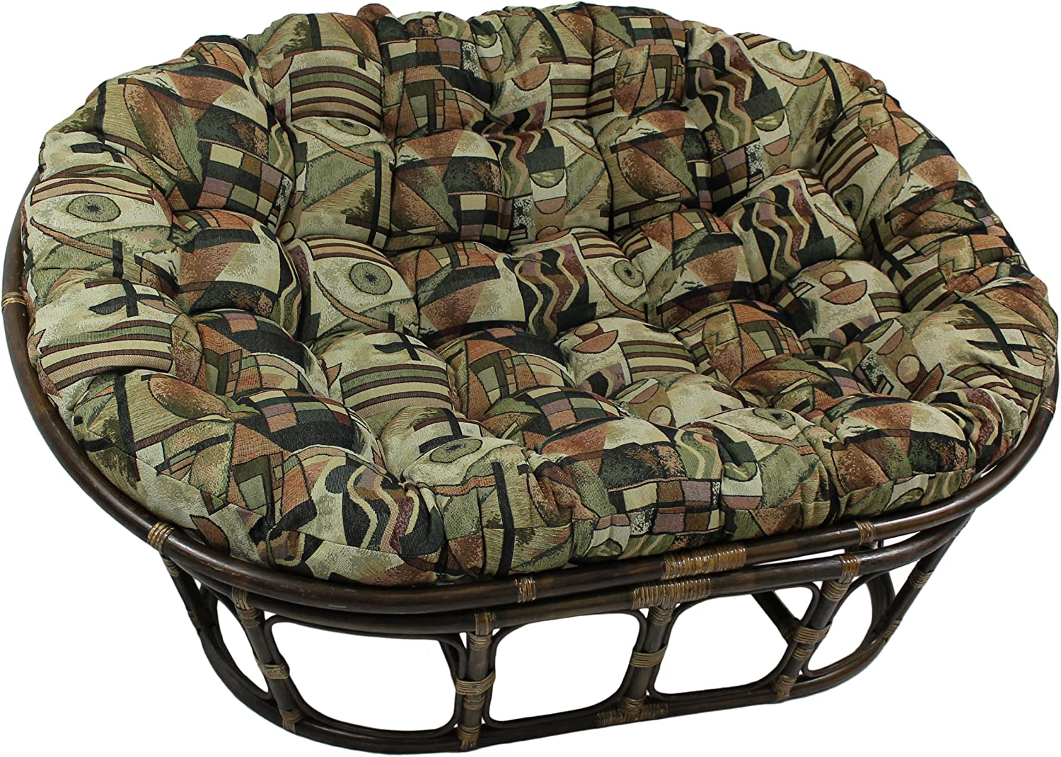 Blazing Needles Patterned Tapestry Double Papasan Chair Cushion, 58 x 6 x 78 , Safari