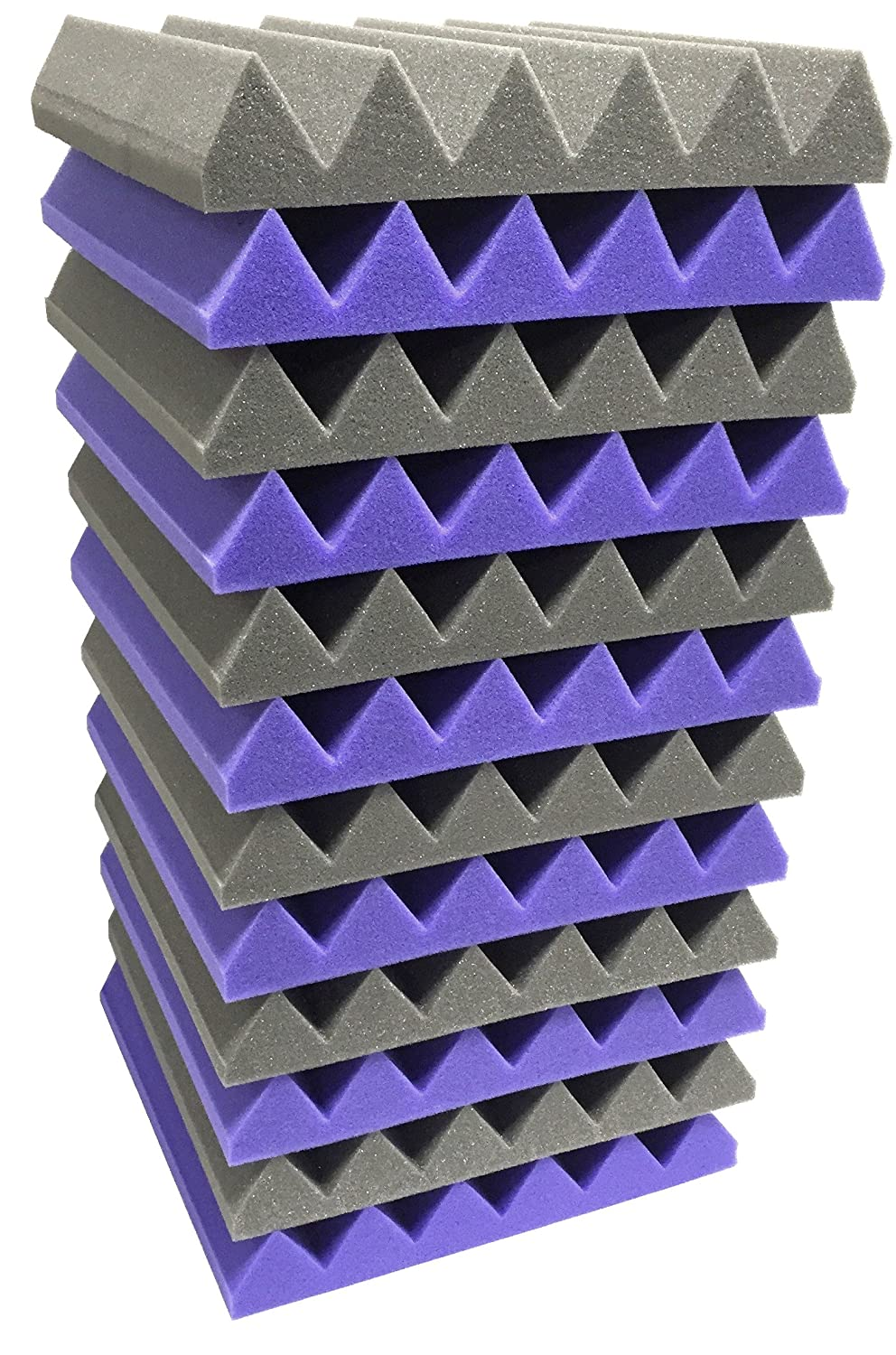 2x12x12 (12 Pack) ROYAL PURPLE/CHARCOAL Acoustic Wedge Soundproofing Studio Foam Tiles Soundproof Store Sou-4576