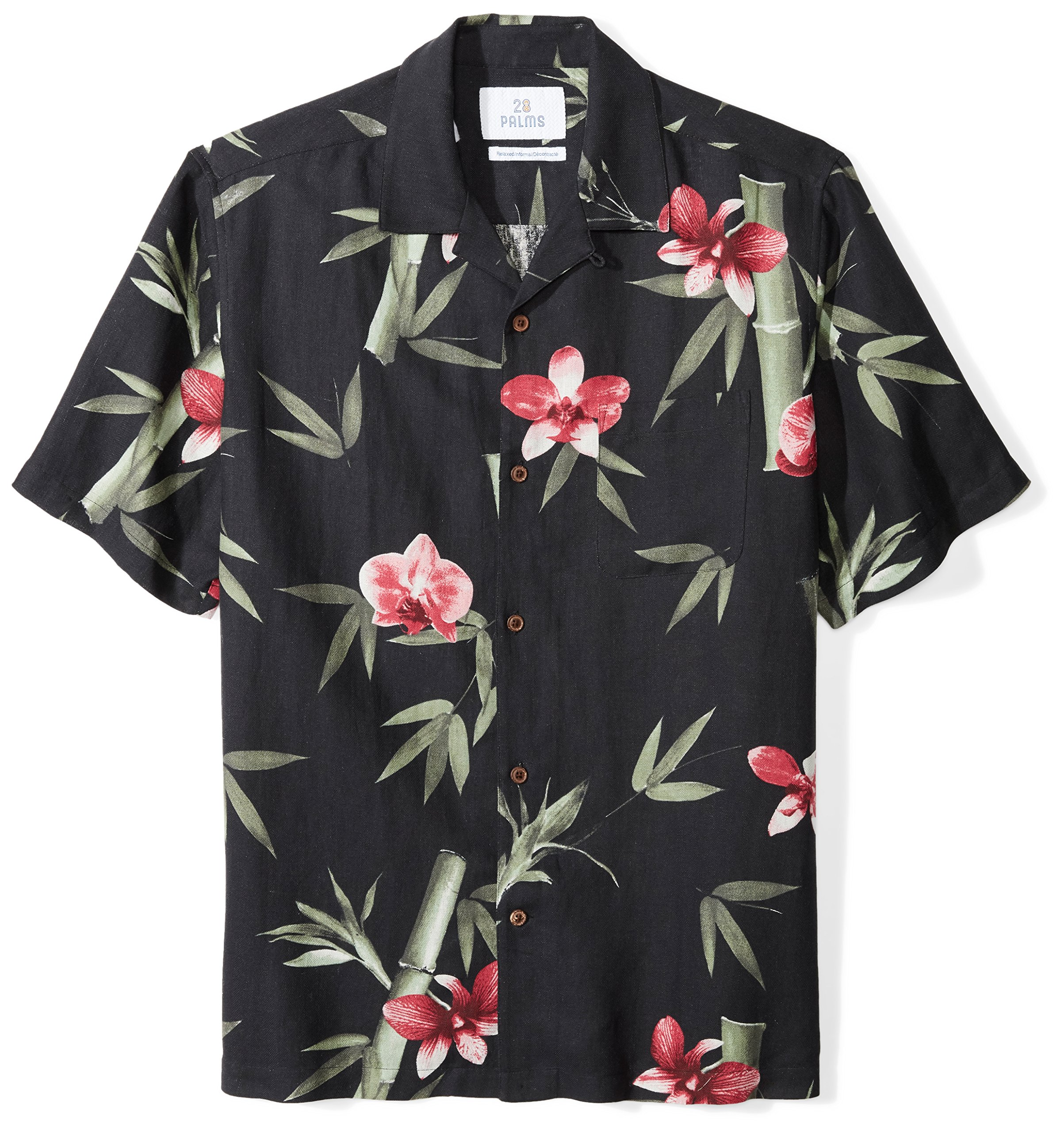 Brand 28 Palms Mens Relaxed-Fit Silk//Linen Tropical Leaves Jacquard Shirt
