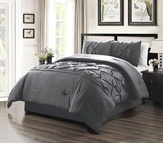 Blue Grey Taupe Pinched Pleat Comforter Cotton Sheets 12 pcs Cal King Queen Set