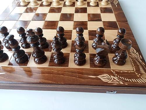 Juego de ajedrez de madera tallada Caja de madera de haya 50x50 cm con piezas de ajedrez de madera de avellana Damas backgammon: Amazon.es: Handmade