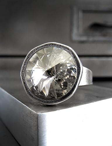 amazon com full moon silver crystal ring swarovski rivoli