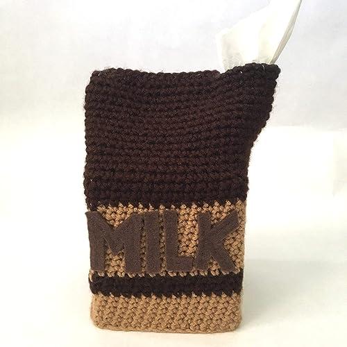 Amazon Crochet Chocolate Milk Tissue Box Cover Cozy Slipcover
