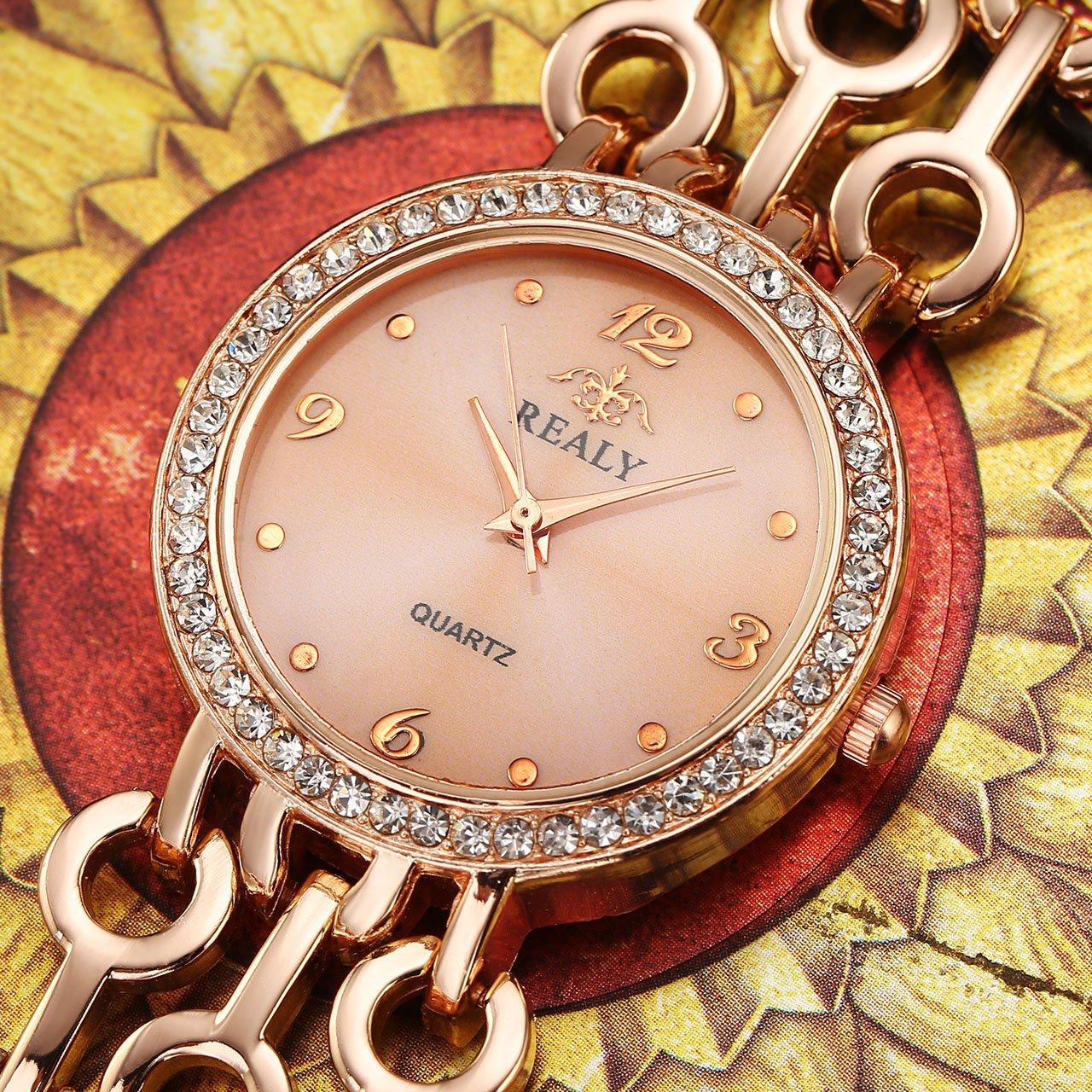 Top Plaza Women Elegant Fashion Bracelet Analog Quartz Watch Rose Gold Tone Rhinestone Case Big Face Large Dial Wide Band Waterproof Cuff Watch by Top Plaza (Image #6)