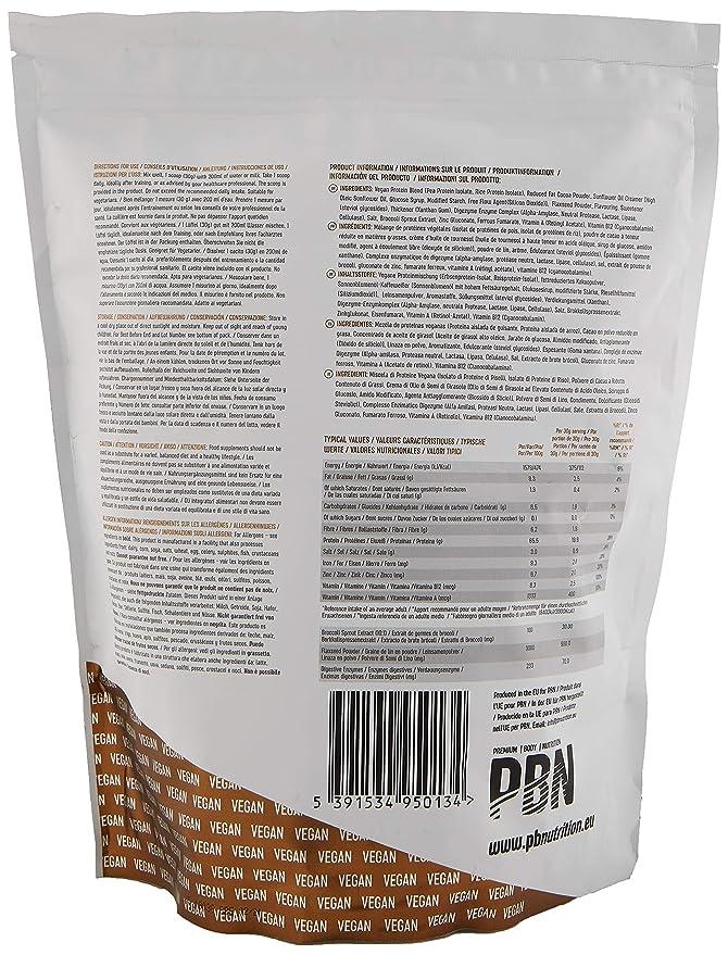 PBN - Paquete de proteínas para veganos, 1 kg (sabor chocolate con avellanas)
