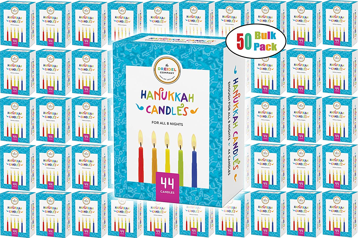 Menorah Candles Chanukah Candles 44 Colorful Hanukkah Candles For All 8 Nights of Chanukah The Dreidel Company 5-Pack