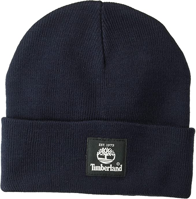 Dark Navy Timberland beanie with a black tree tag