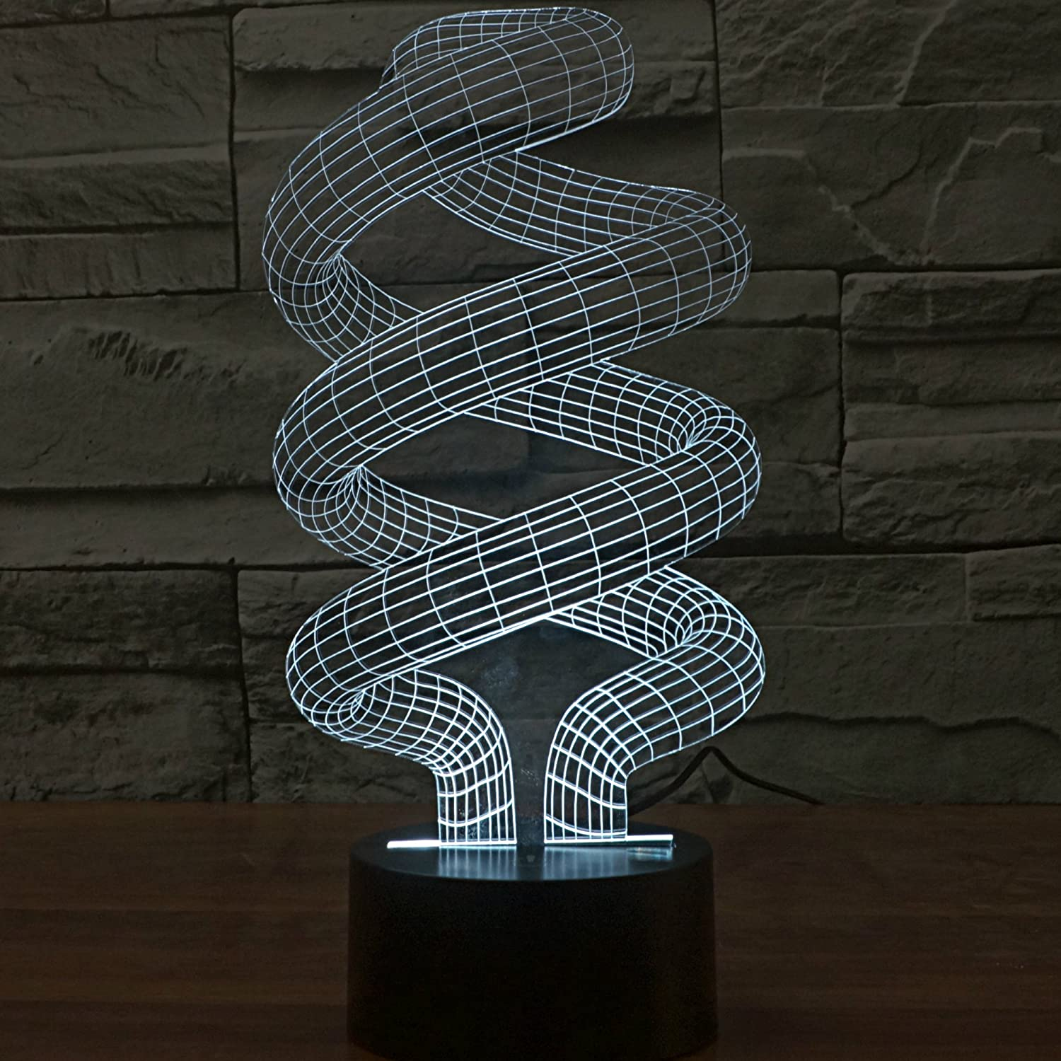 3D DNA Spiral Light by Playtime 123 is a Great Nightlight with a Soft Glow  for Kids. These Lights Make Beautiful Gifts for Mom and Amazing Desk Lamps  for ... - 3D DNA Spiral Light By Playtime 123 Is A Great Nightlight With A