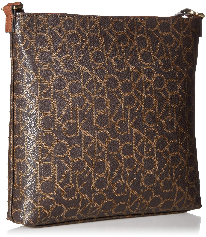 d746c4814e Amazon.com: Calvin Klein Hudson Monogram Studded Top Zip North/South  Crossbody, Brown Khaki: Clothing