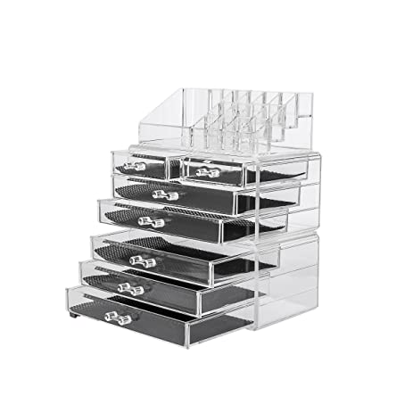 Amazoncom Acrylic 3 piece Makeup Organizer 7 Drawers Cosmetic