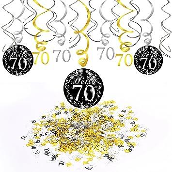 Konsait 70 años cumpleaños Decoracion, Adornos de espirales de 70 Fiesta de cumpleaños Colgando, Negro y Dorado (15 Unidades), Feliz cumpleaños y 70 ...