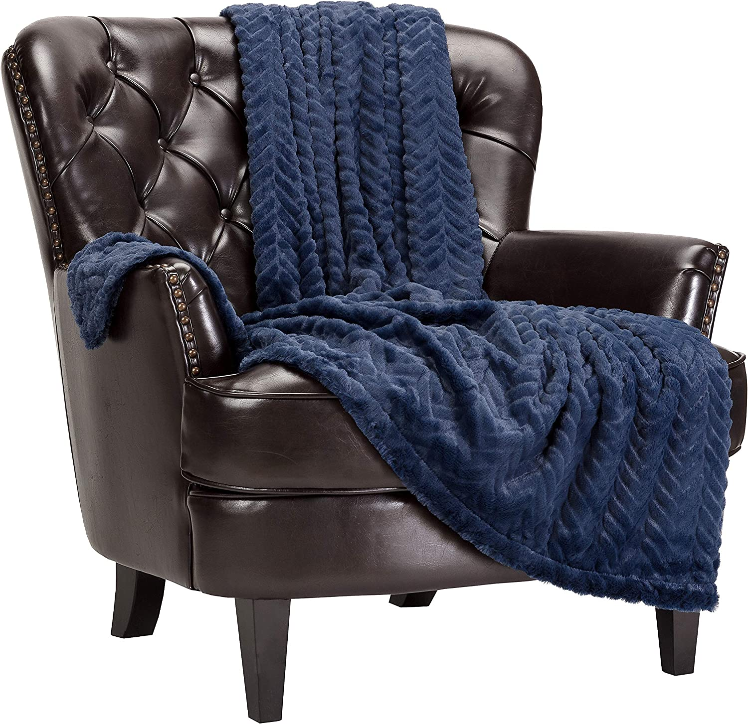 Chanasya Soft Faux Fur Embossed Throw Blanket - Solid Color Fuzzy Double Layered Super Soft Cozy Plush Elegant Throw - for Bed Couch and Living Room Décor (50x65 Inches) Blue Blanket