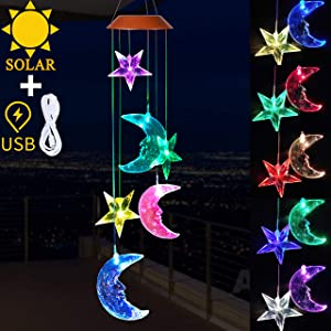 Solar Star and Moon Wind Chimes Lights Outdoor Decor- Solar Powered Stars Moon Wind Chime, Changing Color Solar Light, Xmas Gifts for Mom,Home,Patio,Yard,Festival,Garden Decoration(Solar&USB Charging)