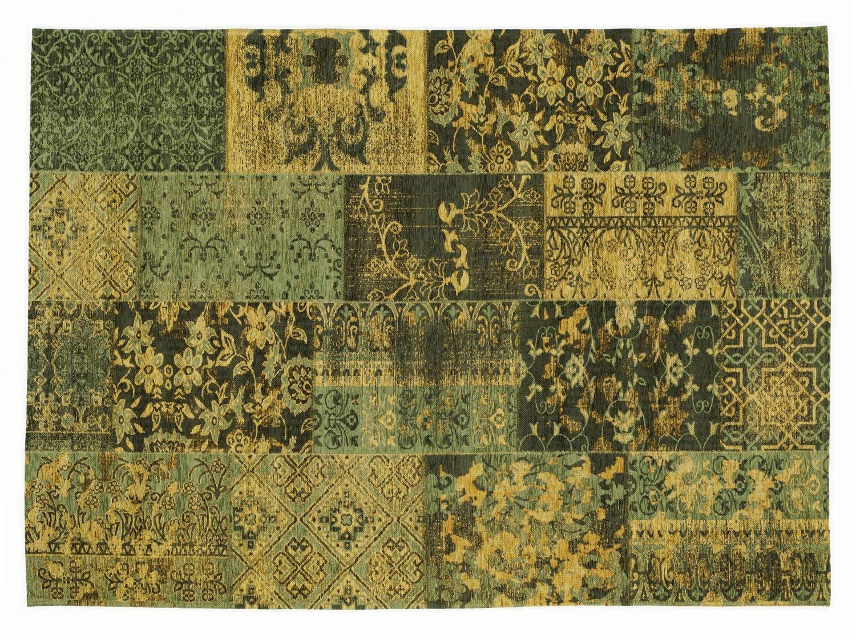DALLIANCE ALLOVER Vintage Patchwork Velour Teppich in grün, Größe  140x200 cm
