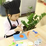 Black Kids'Chef Apron and Hat Set,Home and School