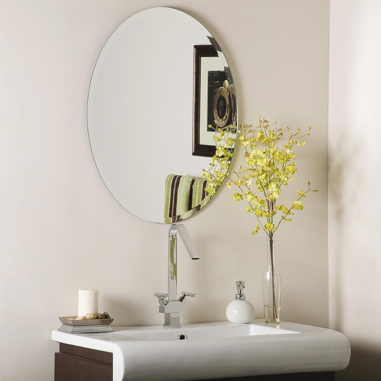 Amazon Com Decor Wonderland Odelia Oval Bevel Frameless Wall Mirror Home Kitchen