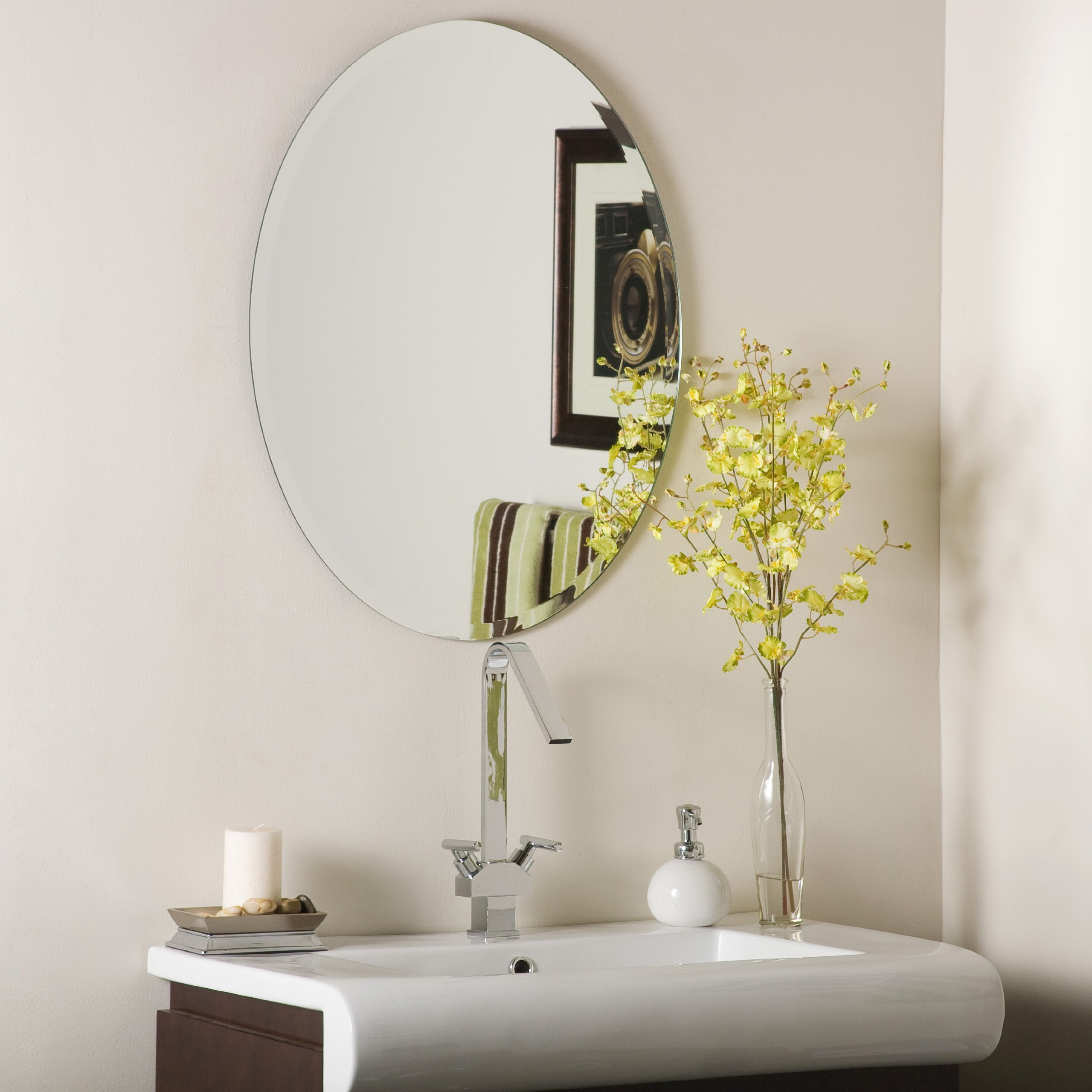 Oval Bevel Frameless Wall Mirror