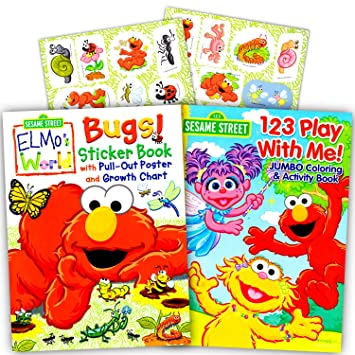 sesame street elmo coloring book set with stickers 2 book set - Elmo Coloring Book