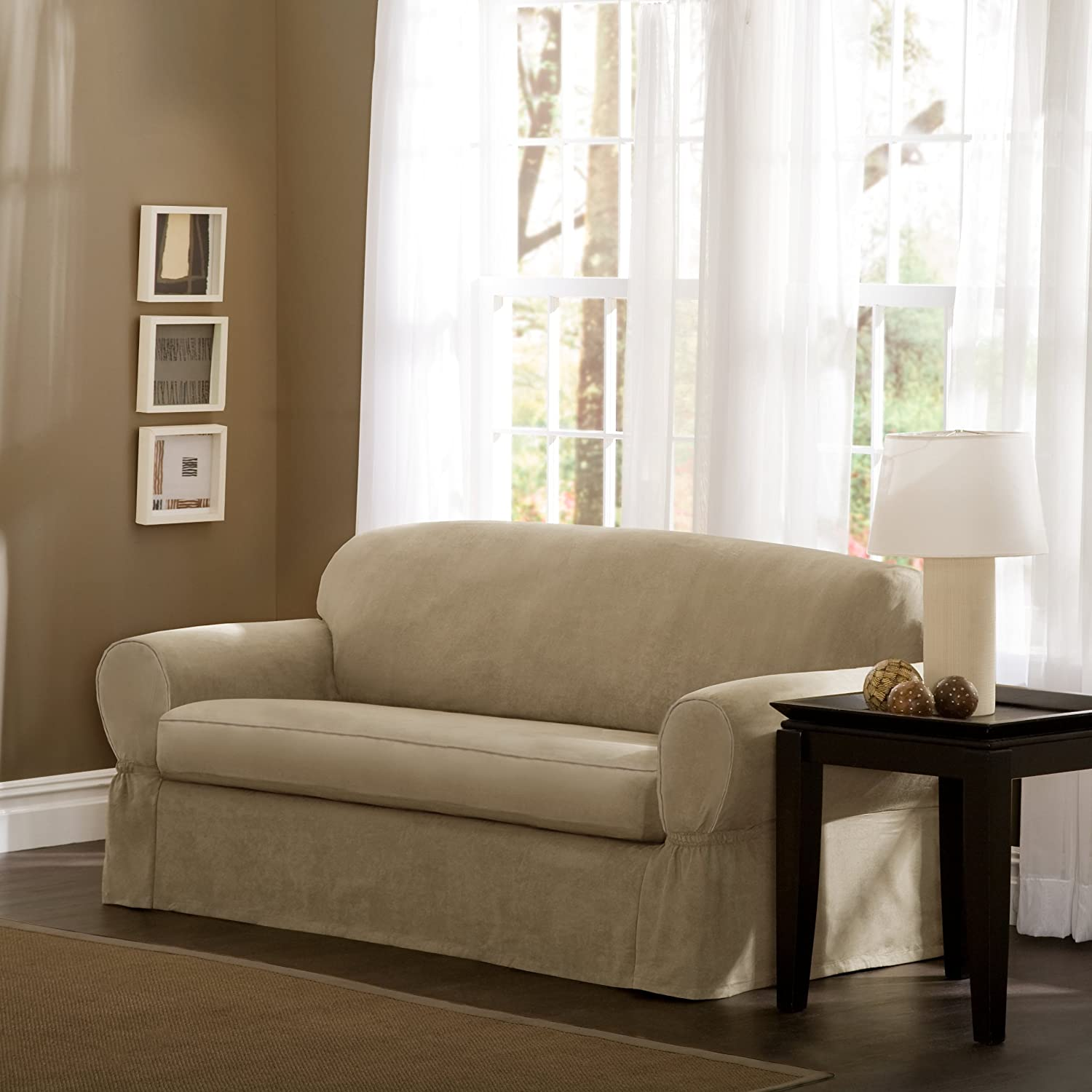 Amazon Maytex Piped Suede 2 Piece Slipcover Sofa Flax Home