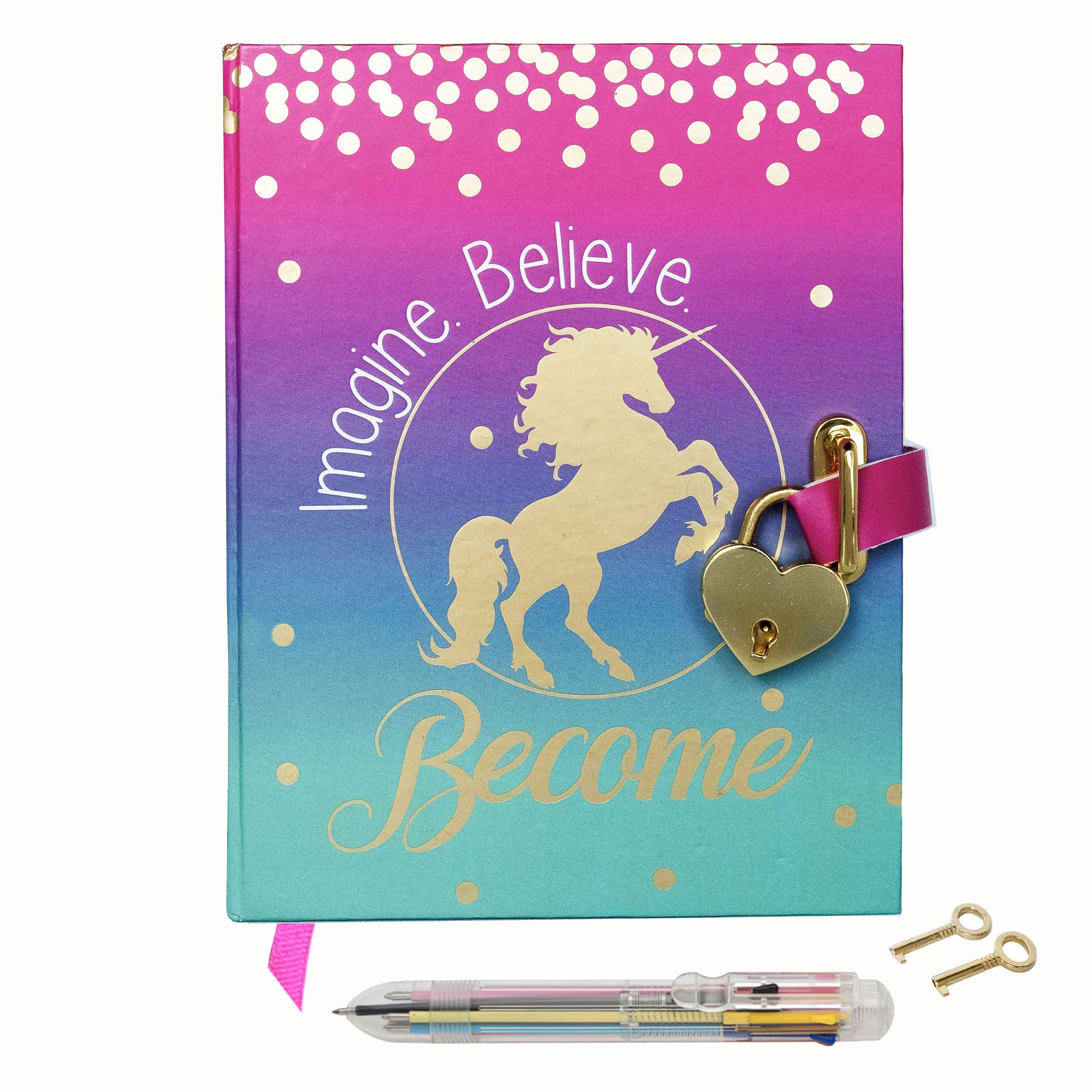 Diary with Lock for Girls - Unicorn Journal with Upgraded Lock and Keys- Secret Diary Set Includes Notebook Pages for a Writing Journal, Blank Pages for Drawing, Multicolor Pen and Bookmark Ribbon