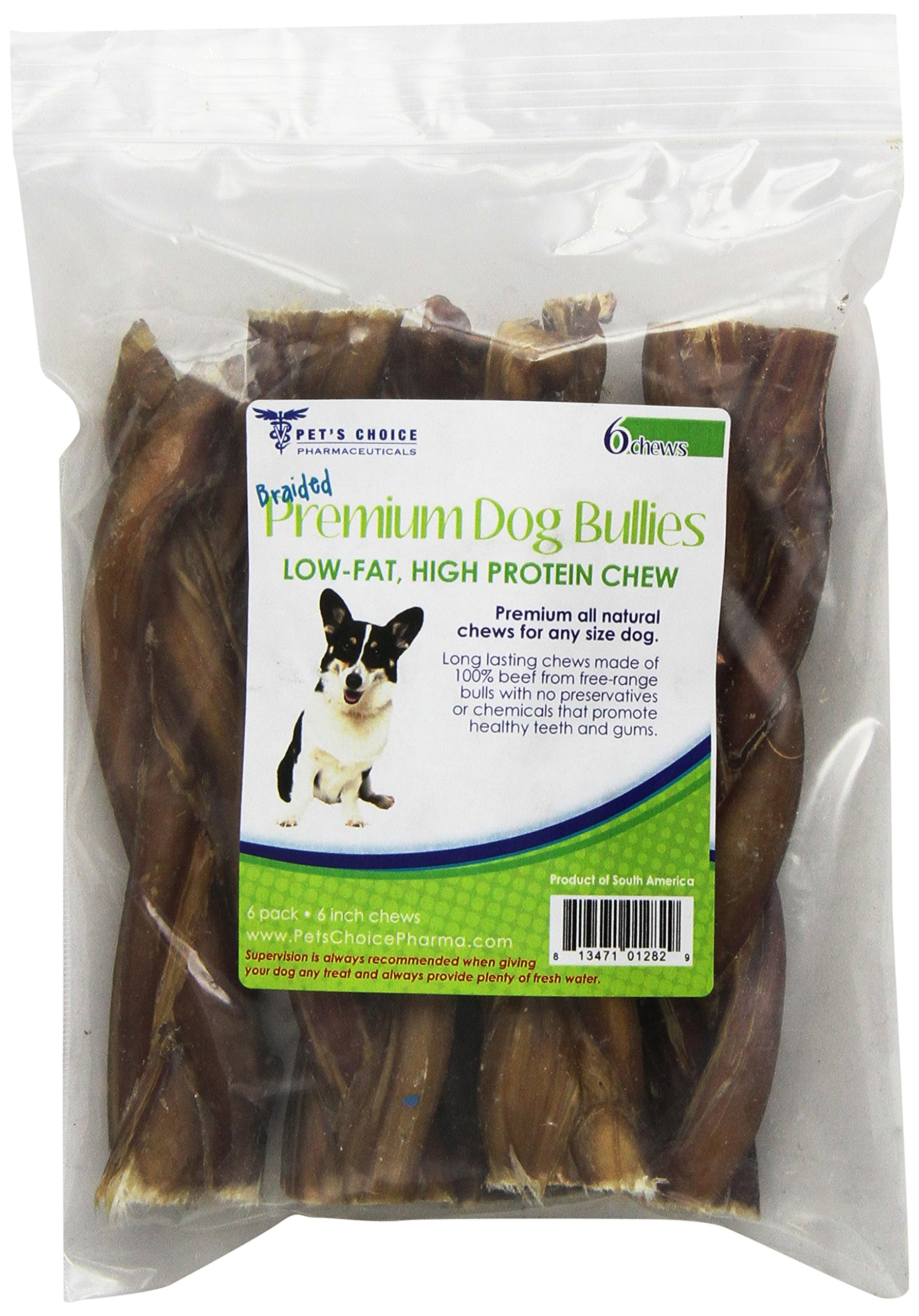 Pet's Choice 6-Pack Braided Bully Stick, 6-Inch