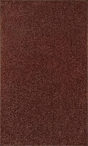 Home Queen Pet Friendly Solid Color Area Rugs Chocolate – 3 x5
