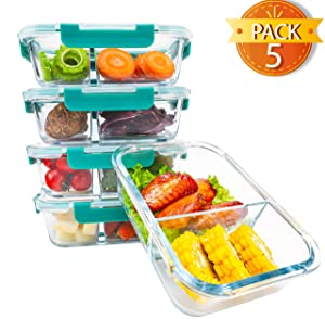 BlueHills Premium Glass Meal Prep Lunch Containers with Snap Lock Lids Glass Food Containers BPA-Free Microwave Oven Freezer Dishwasher Safe 5 pack set 10 pieces 36 Oz 4.5 cups (G002 Two Compartments)