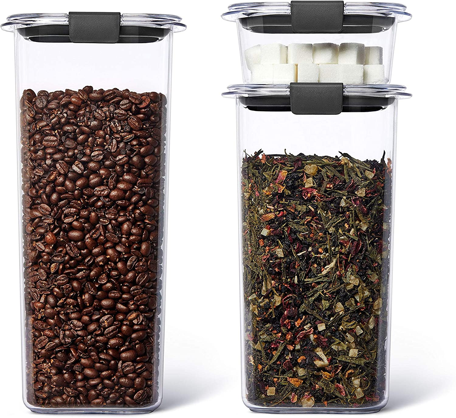 Rubbermaid Brilliance Plastic Food Storage Pantry Grains and Coffee Set of 3 Containers with Lids (6 Pieces Total), Dishwasher Safe, BPA-Free