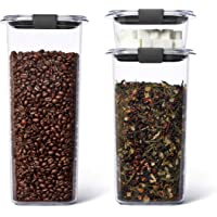 Rubbermaid Brilliance Plastic Food Storage Pantry Grains and Coffee Set of 3 Containers with Lids (6 Pieces Total…