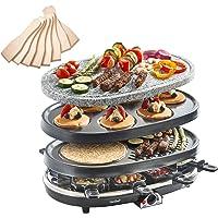 VonShef Parrilla Raclette 3 en 1 con Piedra Natural y Placas Tradicionales para 8 Personas – Calentador de Fondue, Tapas & Mini Crepera, incluye Espátulas & Sartenes