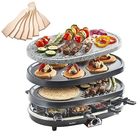 VonShef Parrilla Raclette 3 en 1 con Piedra Natural y Placas Tradicionales para 8 Personas –