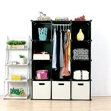 UNICOO Multi Use DIY Plastic 12 Cube Organizer, Bookcase, Storage Cabinet, Wardrobe  Closet