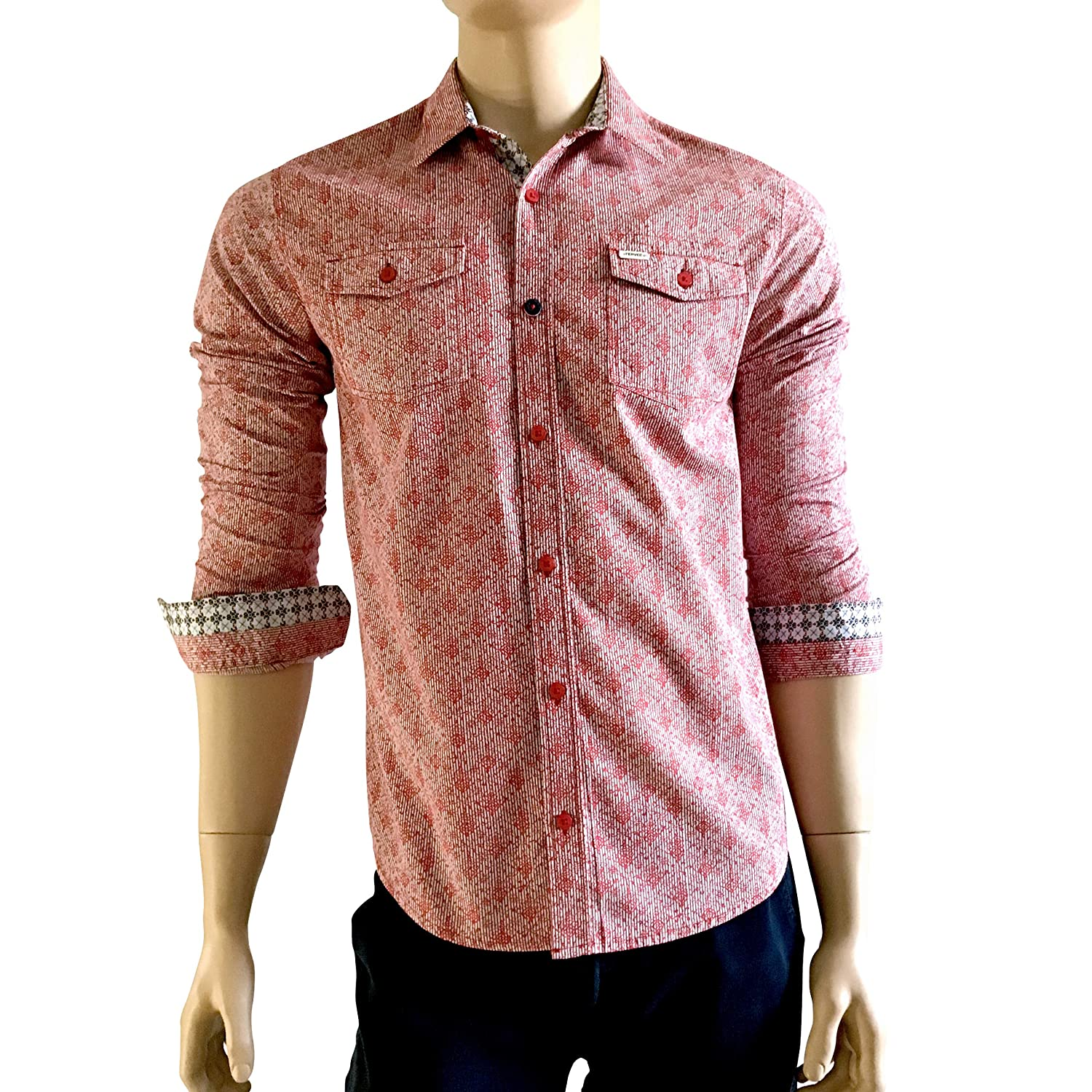 Fervel Mens Slim-Fit Long Sleeve Shirt Printed Pink Cotton Nacre Buttons (L) (S) at Amazon Mens Clothing store: