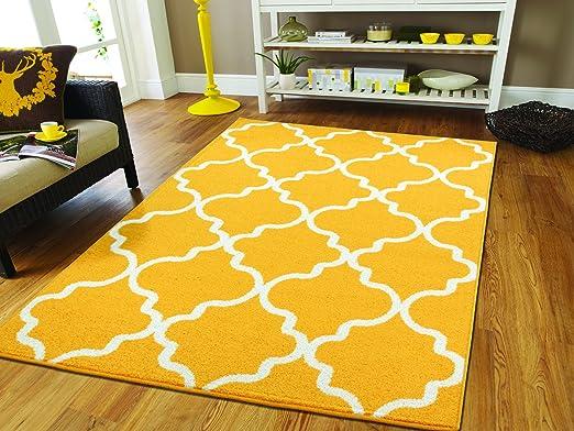 Blue Yellow Multi Coloured Moroccan Trellis Designer Living Room Area Rugs