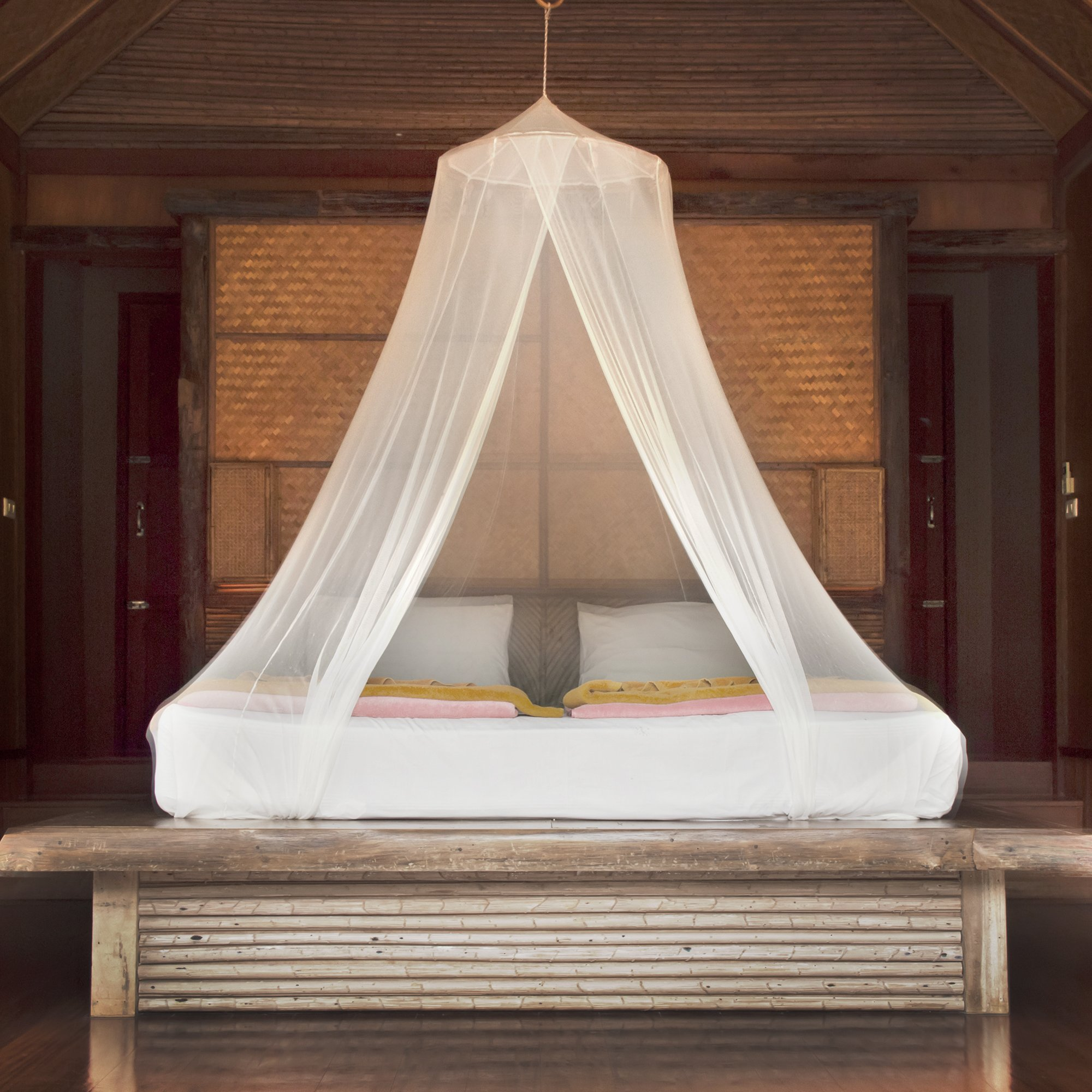 Mosquito Net for Girls Princess Canopy - White Dome Boho Bed & Crib Netting - Easy Hanging Kit and Travel Pouch