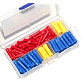 Ginsco 100pcs 10-22 AWG Assorted Insulated Straight Wire Butt Connector Electrical Crimp Terminal Connectors