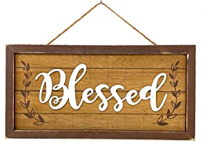 "S.T.C. Home Sign for Wall Front Door Indoor Outdoor Country Rustic Primitive Decor Art 14"" x 7"" (Blessed)"