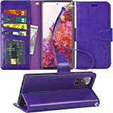 Arae Case for Samsung Galaxy S20 FE 5G PU Leather Wallet Case Cover [Stand Feature] with Wrist Strap and [4-Slots] ID&Credit