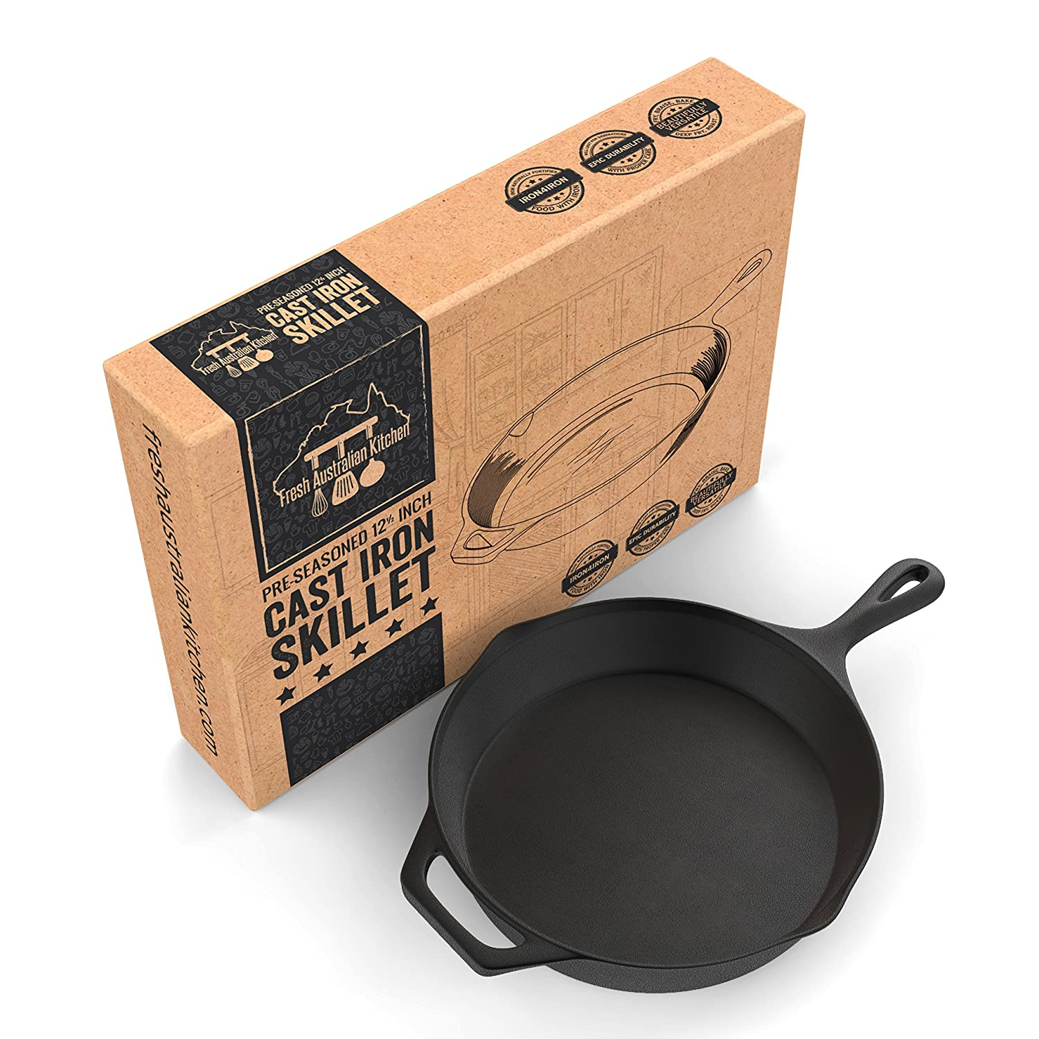 Pre-Seasoned Cast Iron Skillet 12.5 Inch by Fresh Australian Kitchen. Oven Safe Cookware, Perfect Camping, Indoors and Outdoor Pan.