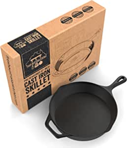 Fresh Australian Kitchen Pre-Seasoned Large Cast Iron Skillet Fry Pan 30cm (12.5 Inches). Perfect for Frying, BBQ, Camping. Oven safe
