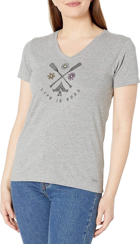 Life is Good Women's Crusher Vee T-Shirt French Sunflower