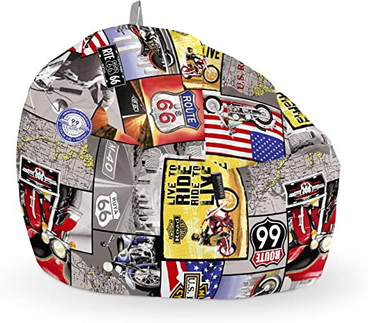 HAPPERS Puff Pelota Estampado Ruta 66: Amazon.es: Hogar