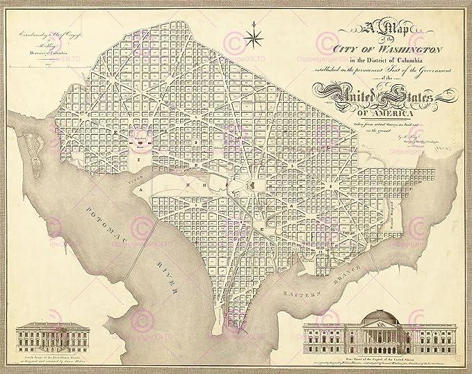 MAP ANTIQUE 1818 KING SCHWARZ WASHINGTON CITY PLAN REPLICA POSTER PRINT PAM1675