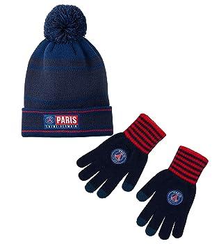 ad3c85185c3 PARIS SAINT GERMAIN Gants + bonnet pompon PSG - Collection officielle  Taille enfant